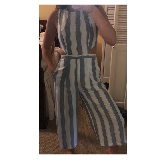 L'ATISTE Pants - Striped jumpsuit with cutouts